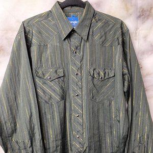 Wrangler Western men's striped button down shirt
